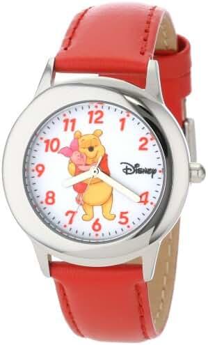 Disney Kids' W000873 Tween Winnie Stainless Steel Red Leather Strap Watch