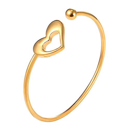 Girls Fashion Skinny Heart Bangle 18K Gold Plated Round Open Cuff Bracelet Women - Open Heart Cuff