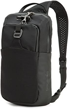 Pacsafe Metrosafe LS150 7 Liter Anti Theft Sling Backpack Fits 7 inch Tablet with RFID Blocking Pocket and Lockable Zippers for Women & Men (Black)