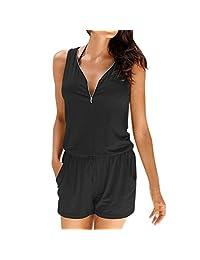 Clearance! Cuekondy Women Summer Casual Zipper V Neck Short Pants Romper Jumpsuit Beach Party Mini Playsuit with Pocket