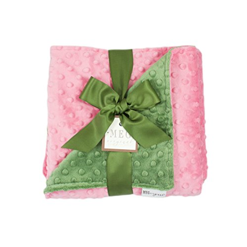 (MEG Original Paris Pink & Dark Sage Green Minky Dot Baby Girl Blanket 969)