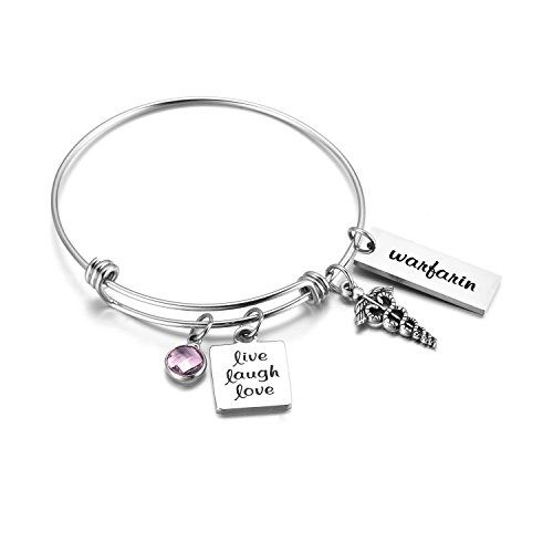 FLODANCER Medical Alert ID Bangle Bracelet Caduceus Live Laugh Love Cuff Bangle Bracelets Silver Stainless Steel Adjustable Jewelry for Women,Girls. (Free Engraving) - Id Charms Engravable Medical