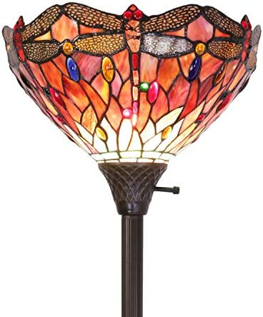 ELUZE Tiffany-Style Dragonfly Torchiere Floor Lamp Wide 14 Tall 71 Inch Red Cloud Stained Glass Crystal Bead Dragonfly Lampshade for Living Room Bedroom