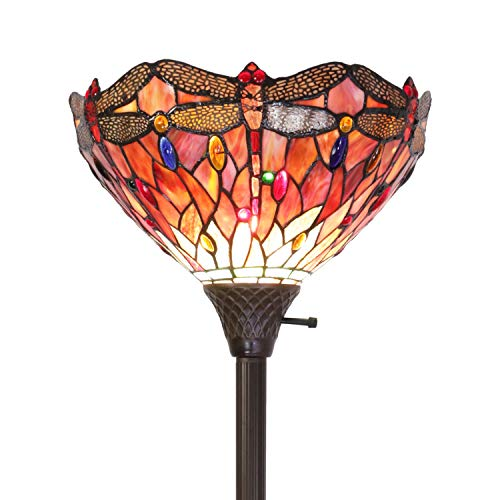 ELUZE Tiffany-Style Dragonfly Torchiere Floor Lamp Wide 14 Tall 71 Inch Red Cloud Stained Glass Crystal Bead Dragonfly Lampshade for Living Room Bedroom (Lamp Fly Dragon)