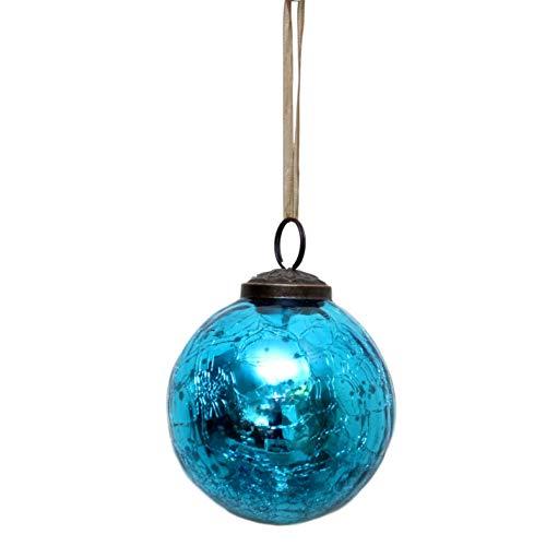 "Bollywood Christmas Glass Crackle Ball Christmas Bauble, Turquoise, 2"""