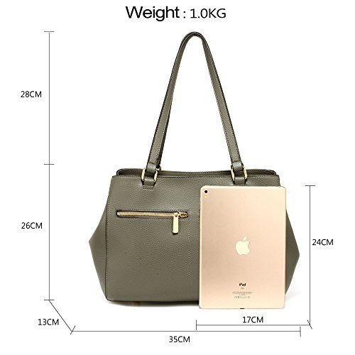 Tote FREE DELIVERY Pockets Grey Gorgeous Women's Front Bag UK TxInOYB