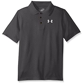 Under Armour Boys' Match Play Polo, Carbon Heather /White, Youth X-Large