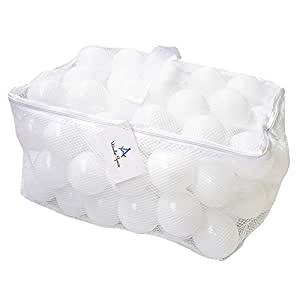 Soft Pit Balls, Chemical-Free Crush Proof Plastic Ocean Ball by Wonder Space, Phthalate & BPA Free with No Smell, Safe for Toddler Ball Pit/Kiddie Pool/Indoor Baby Playpen, Pack of 100 (White)