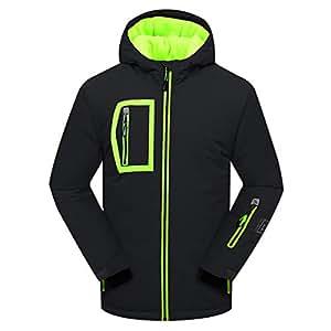 PHIBEE Big Boy's Waterproof Breathable Snowboard Ski Jacket Black 4