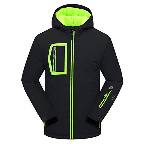 PHIBEE Big Boy's Waterproof Breathable Snowboard Ski Jacket Black 5