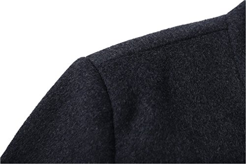 Men's Premium Wool Blend Double Breasted Long Pea Coat (Grey, Large) by HXW.GJQ (Image #4)