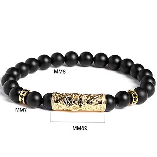 Mikash Luxury Men Beaded Bracelets Bangles Titanium Steel Tube Natural Onyx Stone 8 | Model BRCLT - 11000 |