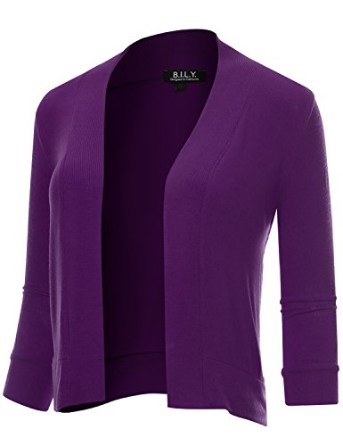 BILY Women's Classic Open Front Cropped 3/4 Sleeve Cardigan Purple Large