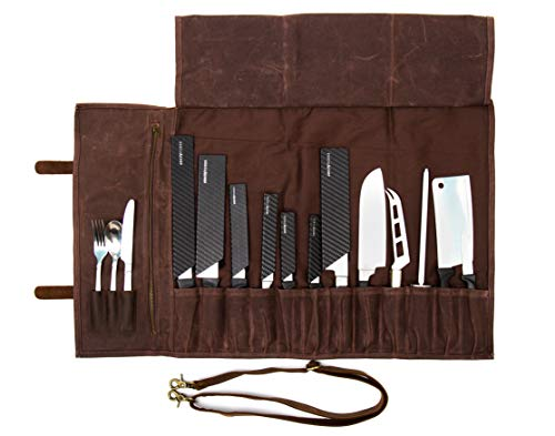 ExecuChef Waxed Canvas Knife Roll | 15 Knife Slots, Card Holder and a Large Zippered Pocket | Genuine Top Grain Leather, Cloth and Brass Buckles | For Professional Chefs and Culinary Students (Brown)