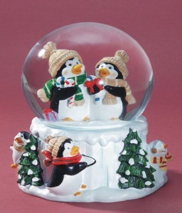 Penguin Musical Snow Globe - We Wish You a Merry (Musical Snowman Snowglobe)