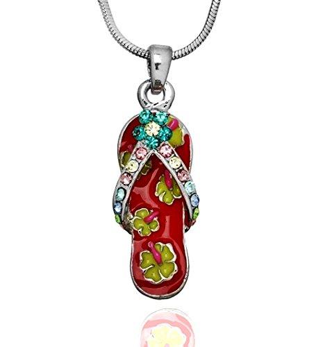 DianaL Boutique Beautiful Enameled Red Flip Flop Slipper Sandal Pendant Necklace 21
