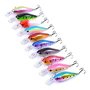 Aorace 10pcs/lot 7cm/8g Plastic Minnow Fishing Lures Bass Crankbait Kit Saltwater/freshwater Fishing Topwater Popper Poper Lure Fishing Tackle Hooks Crankbait Hard Minnow Baits