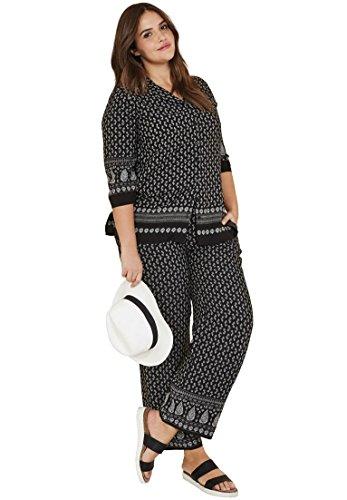 Marrakech Buttons - Ellos Women's Plus Size Printed Wide Leg Soft Pants Black Paisley Print,18/20