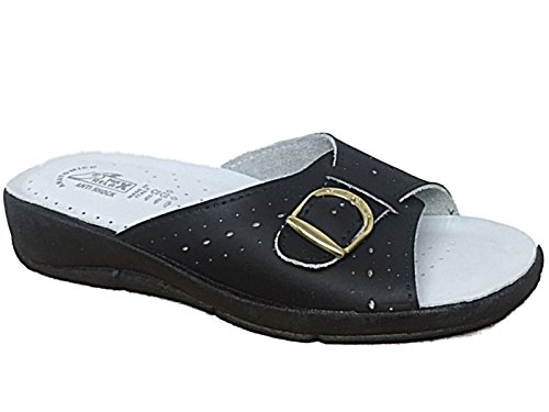 Ladies Max Relax Peep Toe Buckle Slip On Comfort Low Wedge Flat Mule Summer Sandals Size 4-9 Black F4NsAPV2XV