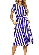 levaca Women's Short Sleeve Striped Casual Flowy Midi Belt Dress with Pockets