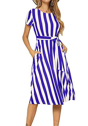 levaca Women's Casual Empire Waist Loose Fit Swing Belt Midi Dress with Pocket Blue XL