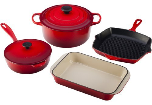 Le Creuset Enameled Cast-Iron 6-Piece Cookware Set, Cherry