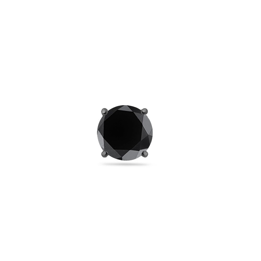 0.31-0.44 Cts of 3.5-4.0 mm AA Round Black Diamond Mens Stud Earring in 14K Blackened White Gold