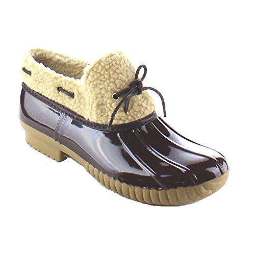 Women's Fidel Faux Fur Shearling Waterproof Trendy Duck Ankle Shoe Booties (6.5, Brown)