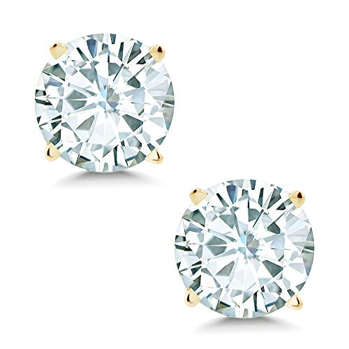 (Gem Stone King Timeless Brilliant 8 milimeters 3.80cttw White Created Moissanite14k Yellow Gold Friction Back Round 4 Prong Stud Earrings)