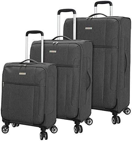 Regent Square Travel – Lightweight Luggage Set With Spinner Goodyear Wheels – Set of 3 Pieces – Soft Case – Grey
