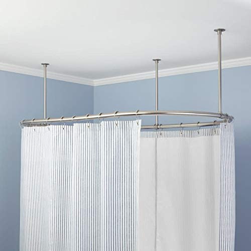 Signature Hardware 320239 60'' x 36'' Oval Solid Brass Ceiling Mounted Shower Curtain Rod by Signature Hardware (Image #1)
