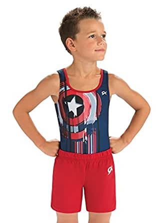 GK Marvel Captain America Gymnastics Competition Shirt by Dance, Outdoor Sports & Gymnastics Activewear for Boys | Blue