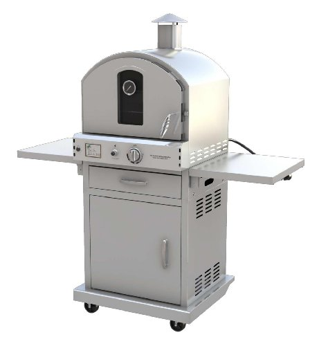Pacific Living Outdoor Large Capacity Gas Oven with Pizza Stone, Smoker Box and Mobile Cart, 430 Stainless Steel