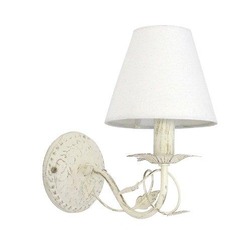 Wandlampe L'ARBRE Metall mit Blattverzierungen cremeweiß Wandleuchte