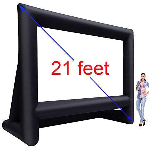 (16/17/18/19/20/21 ft Inflatable Outdoor Projector Movie Screen - Huge Air-Blown Cinema Projection Screen Package with Rope, Blower + Tent Stakes - Great for Outdoor Party Backyard Pool Fun (21 feet) )