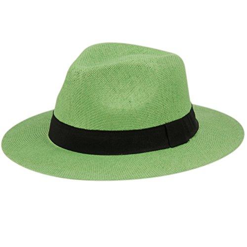 ANGELA & WILLIAM The Original Panama Matte Toyo Straw Sun Safari Hat (Lime Green) ()