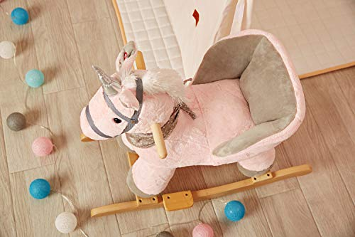Rock My Baby Pink Rocking Unicorn with Chair,Plush Stuffed Animal Rocker,Wooden Rocking Toy Unicorn/Baby Rocker/Animal Ride on,Home Decor,for Girls,Indoor&Outdoor (Pink Unicorn) by Rock My Baby (Image #6)
