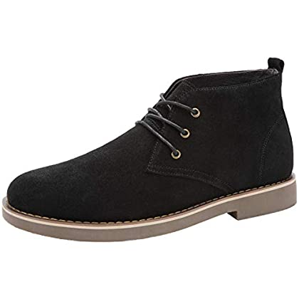 CAMEL CROWN Men's Suede Chukka Boots Leather Lace up Work Oxford Shoes Casual Fashion Desert Storm Boot Black