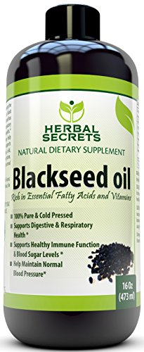 Herbal Secrets Black Seed Oil Natural Dietary Supplement - Cold Pressed Black Cumin Seed Oil from 100% Genuine Nigella Sativa - 16 oz Bottle