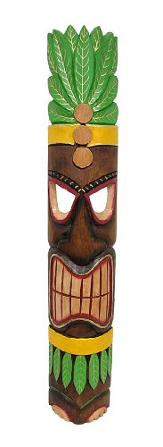 Brown Tiki Mask with Leafy Green Headdress Yellow Accents 40 In.