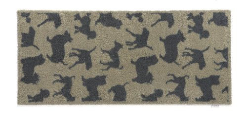Hug Rug T222 Eco-Friendly Absorbent Dirt Trapping Indoor Washable Runner, 25.5-Inch x 59-Inch, Beige with Charcoal Dog