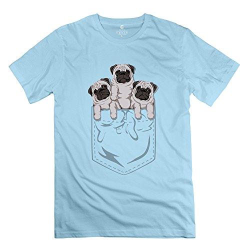 Men Pocket Pug Customized 100% Cotton SkyBlue T-Shirt By Mjensen