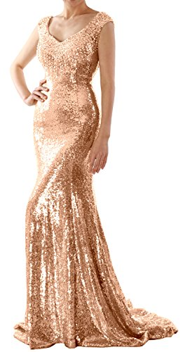 Sequin Formal Gown Party Long Gold Wedding Women MACloth Rose Dress Evening Mermaid Prom nzpqvE