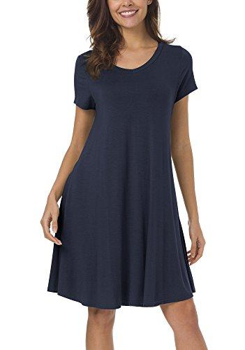 Urban Coco Womens Casual Swing Tunic Dress Loose T Shirt Dress  L  Navy