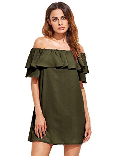Milumia Women's Off Shoulder Ruffles Shift Loose Mini Dress Army Green S - Off Shoulder Mini