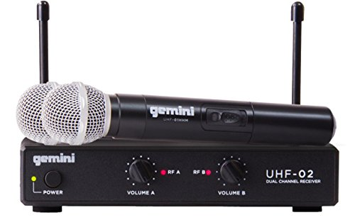 Gemini UHF Series UHF-02M-S34 Professional Audio DJ Equipment Dual Channel Wireless UHF System and Handheld Wireless Microphone with 150ft Operating Range