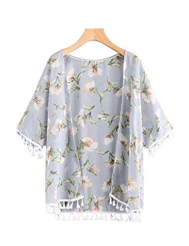 Sipaya Girls' Sheer Chiffon Fringe Floral Print Kimono Cardigan Cover up White M - Lightweight Kimono