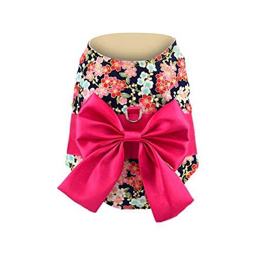 - Kimanli Pet Clothes Dog Bow Floral Dress Vest Skirt Puppy Princess Kimono Costume (m, hot)