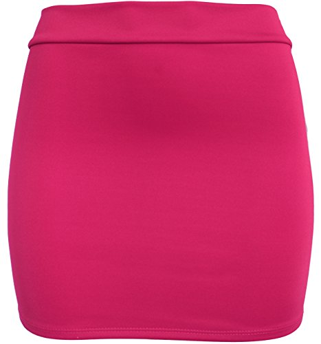 KMystic Basic Fitted Solid Mini Skirt (Small, Hot Pink) (Hot Pink Pencil Skirt compare prices)