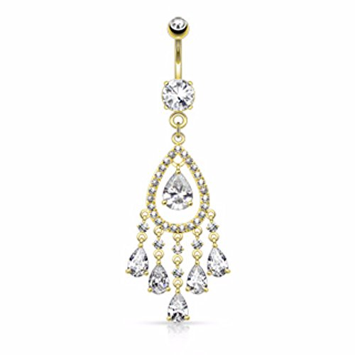 (Multi Tear Drop and Round CZ Set Chandelier Dangle WildKlass Navel Ring (Sold by Piece))